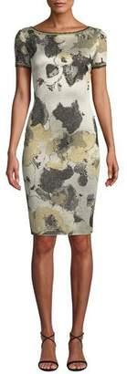 St. John Gold-Leaf Jacquard Short-Sleeve Sheath Dress