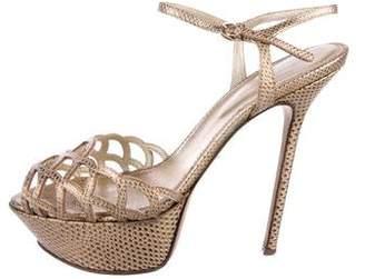 Sergio Rossi Laser Cut Platform Sandals
