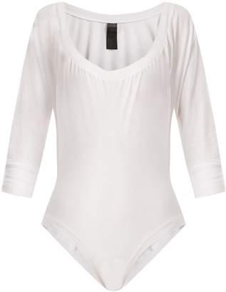 Norma Kamali Scoop-neck raglan-sleeve cotton bodysuit