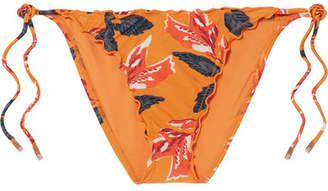 Vix Tulum Floral-print Bikini Briefs - Orange