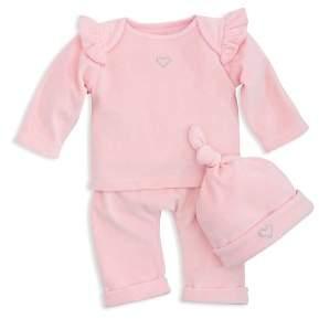 Elegant Baby Elegant Girls' Velour Long-Sleeve Top, Pull-On Pants & Hat Set - Baby