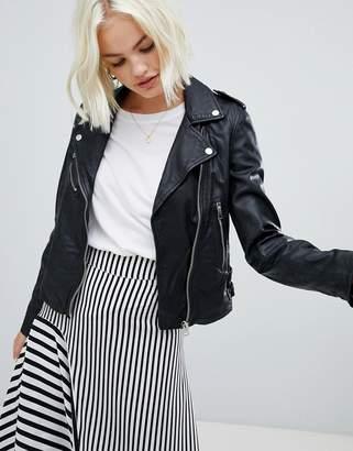 Pull&Bear leather biker jacket in black