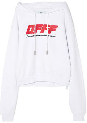 Off-White Cropped Printed Cotton-jersey Hooded Top