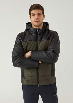 Emporio Armani Ea7 Padded Windproof Technical Fabric Jacket With Detachable Hood