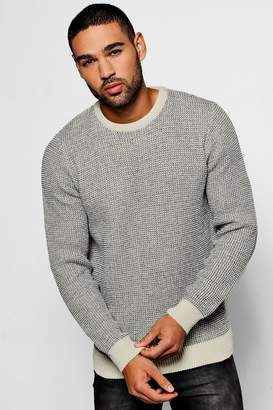 boohoo Two Colour Chunky Crew Jumper