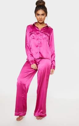 PrettyLittleThing Fuchsia Satin Wide Leg Pyjama Set aaeabb30e