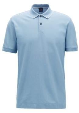 BOSS Hugo Regular-fit polo shirt in two-tone honeycomb cotton M Light Blue