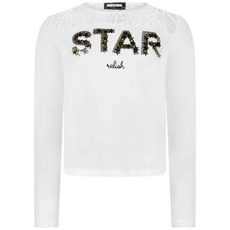 Relish RelishGirls Ivory Sequin Star Top