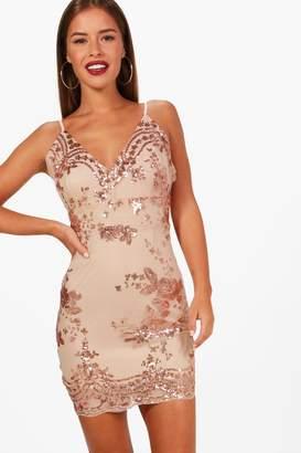 boohoo Petite Mesh + Sequin Bodycon Dress
