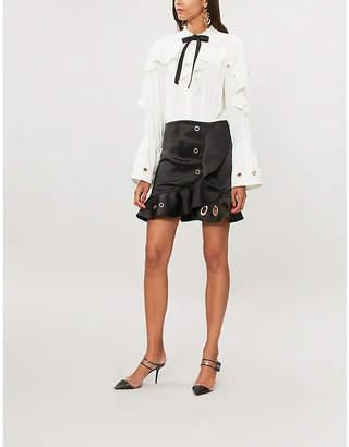 Self-Portrait Ladies Cream and Black Eyelet-Detail Crepe Satin Dress