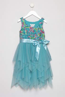 Bonnie Jean Aqua Petal Dress