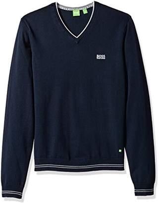 HUGO BOSS BOSS Green Men's Vime Regular Fit Synthetic Fiber Mix Sweater with V-Neck
