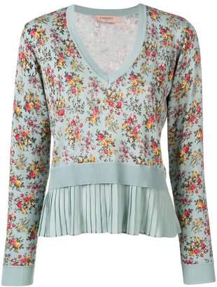 Twin-Set pleated hem floral jumper