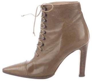 Manolo Blahnik Leather Lace-Up Ankle Boots