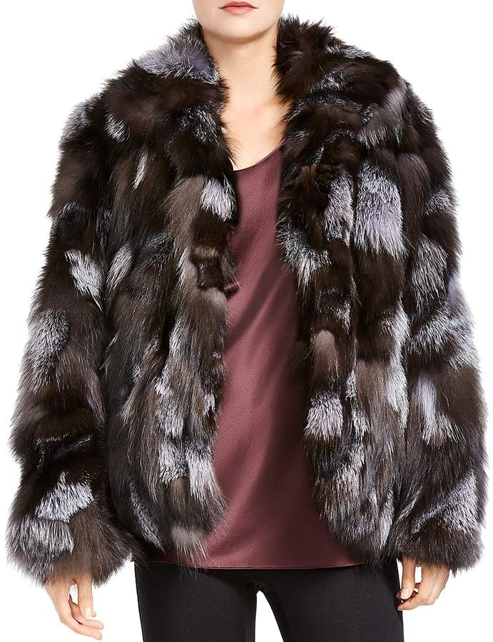 Patched Fox Fur Jacket