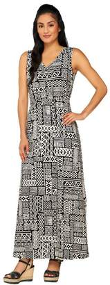 Denim & Co. Sleeveless V-neck Tribal Print Knit Maxi Dress