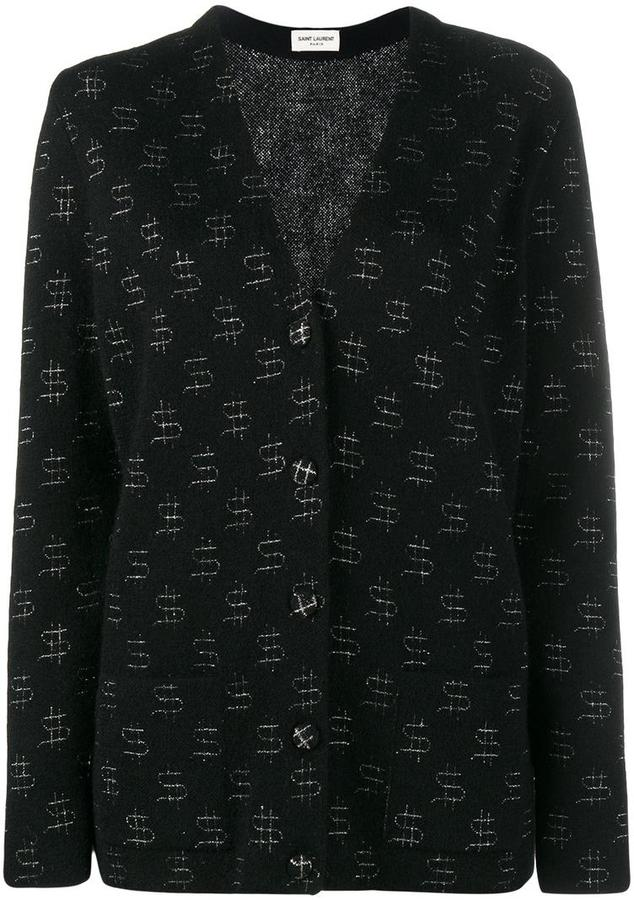 Saint LaurentSaint Laurent Mohair and Wool Cardigan with Dollar Signs Embroidery