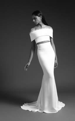Luma Cushnie Bridal High waisted Silk Skirt with Train