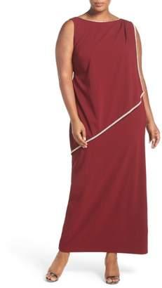 Marina Embellished Overlay Sleeveless Crepe Column Gown