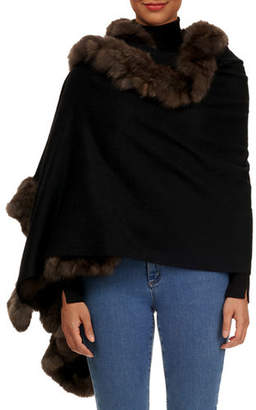 Gorski Cashmere Stole with Sable-Fur Trim