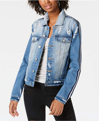 Almost Famous Juniors' Varsity-Stripe Ripped Denim Jacket