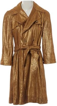 Diane von Furstenberg Gold Suede Trench coats