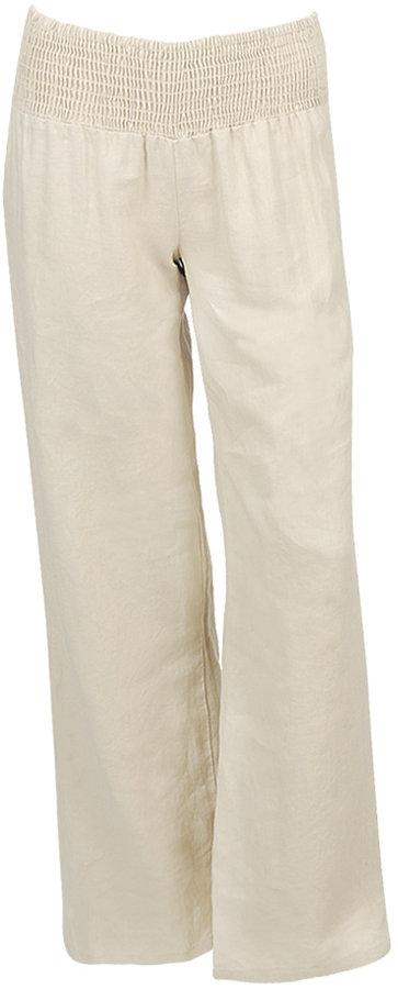 Smocked Waist Linen Pant