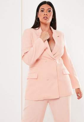 Missguided Plus Size Pink Co Ord Double Breasted Blazer