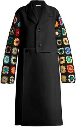 Crochet-sleeve wool-blend twill coat