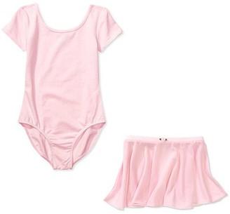 Danskin Girls' Short Sleeve Dance Leotard and Skirt 2-Piece Set