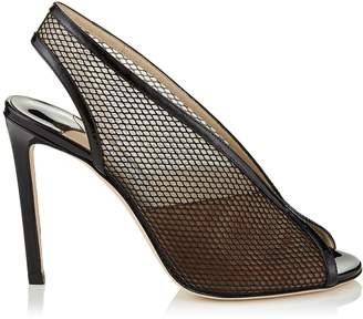 Jimmy Choo SHAR 100 Black Patent Mesh Sandal Booties