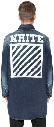Printed Washed Cotton Denim Shirt $571 thestylecure.com