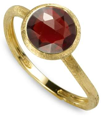 Marco Bicego 18K Yellow Gold Engraved Jaipur Stackable Ring with Garnet