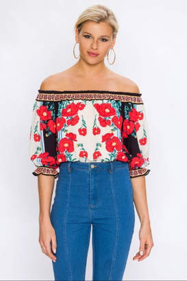 Flying Tomato Off-Shoulder Floral Top