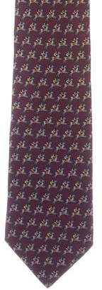 Hermes Horse Racer Print Silk Tie