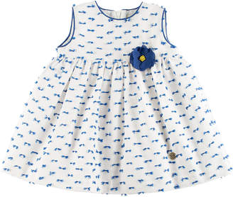 Carrera Pili Patterned Dress w/ Bloomers, White, Size 12M-3Y