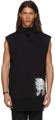 Ann Demeulemeester Black Sleeveless Tony Patch Peony Hoodie