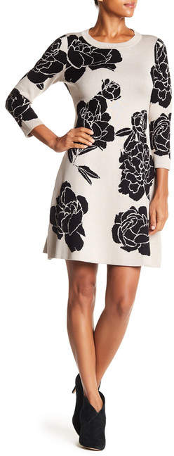 Calvin Klein Floral Fit & Flare Sweater Dress