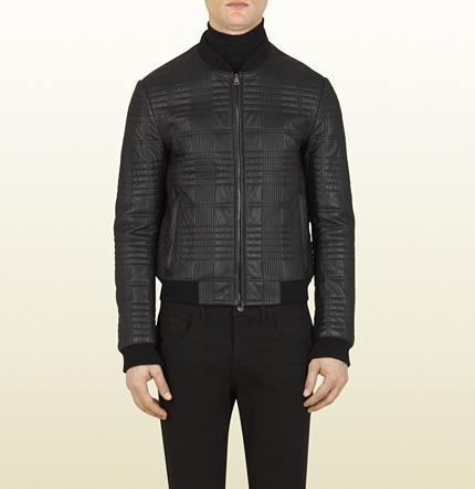 Gucci Black Quilted Light Nappa Leather Bomber
