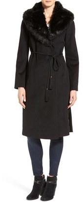 Women's Via Spiga Faux Fur Shawl Collar Wool Blend Wrap Coat $300 thestylecure.com
