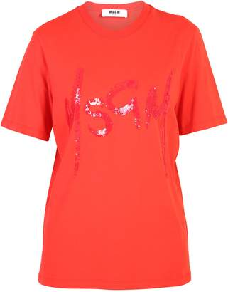 MSGM Orange Shiny Detailed T-shirt