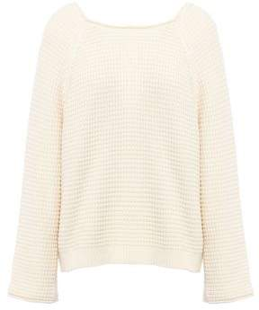 MiH Jeans Tie-Back Waffle-Knit Cotton Sweater