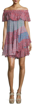 Rebecca Taylor Off-the-Shoulder Patchwork Mini Dress, Tangerine/Mermaid $595 thestylecure.com