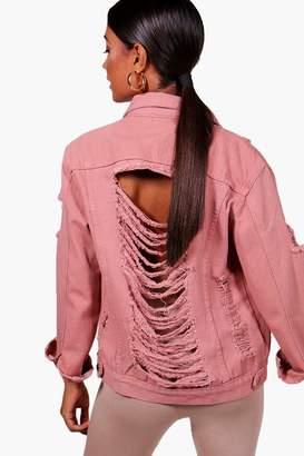 boohoo Sully Distressed Oversize Denim Jacket