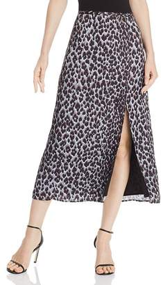Paige Delfina Blue Ice Leopard-Print Midi Skirt - 100% Exclusive