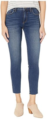 KUT from the Kloth Donna High-Rise Fabric AB Ankle Skinny in Remissive/Dark Stone Base Wash