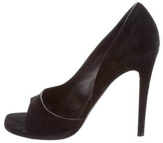 Celine Suede Peep-Toe Pumps