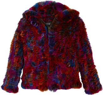 Adrienne Landau Knitted Multicolored Hooded Fur Jacket Size 2T-12Y