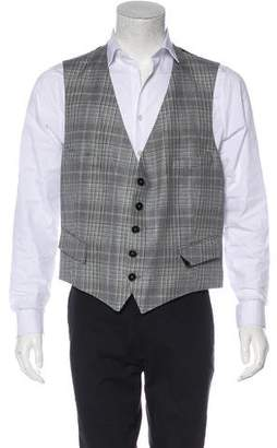 Gucci Plaid Linen-Blend Suit Vest