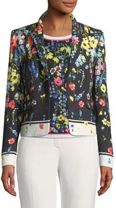 Escada One-Button Floral-Print Matelasse Jacket